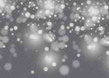 Dirigez l'effet en baisse de neige d'isolement sur le fond transparent avec le bokeh brouillé Photographie stock libre de droits