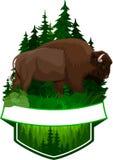 Dirigez l'emblème de région boisée avec le bison brun de buffle de zubr illustration de vecteur