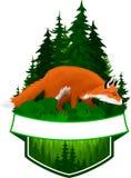 Dirigez l'emblème de région boisée avec le vulpes de Vulpes de renard rouge Image libre de droits