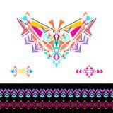 Dirigez l'encolure, modèles et les frontières conçoivent pour la mode Copie tribale ethnique de cou Embellissement de coffre dans illustration libre de droits