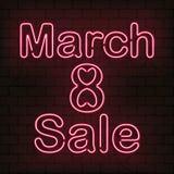 Dirigez l'enseigne au néon 8 de la vente de mars pour la décoration sur le fond de mur Concept de jour heureux du ` s de femmes Photos libres de droits