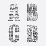 Dirigez l'ensemble éducatif avec l'ordre tiré par la main de lettres d'A à D décoré des textures d'encre Photographie stock
