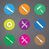 Dirigez l'ensemble coloré d'icône d'outils sur le fond gris Photos stock