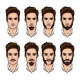 Dirigez l'ensemble coloré d'un type avec la barbe et la moustache différentes de style Illustration Stock