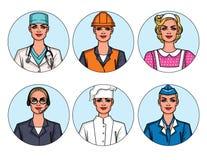Dirigez l'ensemble coloré de professions du ` s de femmes d'isolement dans le fond Illustration Stock
