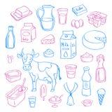 Dirigez l'ensemble d'éléments tiré par la main de laiterie d'isolement sur le fond blanc illustration stock