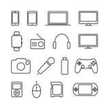 Dirigez l'ensemble d'image de dispositifs et de ligne icônes de l'électronique illustration stock