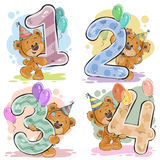 Dirigez l'ensemble de nombres avec un ours de nounours d'amusement Image libre de droits