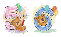 Dirigez l'ensemble de nombres avec un ours de nounours d'amusement Photographie stock