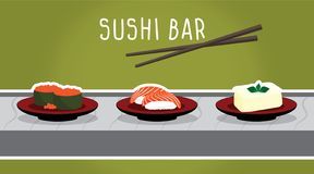 Dirigez l'ensemble de sushi de poissons de saumons, de tofu et de vol, nourriture japonaise illustration libre de droits