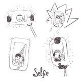 Dirigez l'ensemble tiré par la main de selfie avec des personnes dedans Image libre de droits