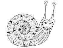 Dirigez l'escargot de zentangle pour les pages adultes de coloration, thérapie d'art illustration libre de droits