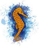 Dirigez l'hippocampe d'aquarelle d'illustration à l'arrière-plan blanc illustration de vecteur