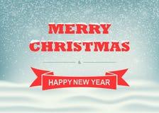 Dirigez l'hiver et le paysage de Noël avec les flocons de neige en baisse et l'inscription Fond pour la conception de vacances de Images libres de droits