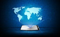 Dirigez l'hologramme abstrait du fond de concept d'innovation de technologie de carte du monde Image stock