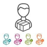 Dirigez l'homme avec des icônes de paquet dans la ligne mince style et conception plate Photo stock