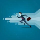 Dirigez l'homme d'affaires concurrentiel avec des affaires sur le graphique d'infos illustration libre de droits