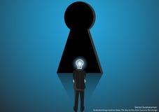 Dirigez l'homme d'affaires faisant un brainstorm des idées créatives la clé à la conception plate de succès de porte illustration stock