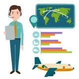 Dirigez l'homme mondial de directeur embarquant des manières et la logistique lourdes de la livraison dans l'illustration d'entre Photos stock