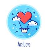 Dirigez l'icône avec le ballon à air sous forme de coeur et les nuages sur le ciel Amour d'air Ligne mince conception plate Photo stock