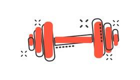 Dirigez l'icône de gymnase de forme physique d'haltère de bande dessinée dans le style comique barbell Illustration Stock