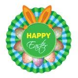 Dirigez l'icône avec le lapin de dissimulation et les oeufs colorés pendant des vacances Pâques Images stock