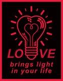 Dirigez l'icône conceptuelle de rétro illumination, emblème de thème d'amour EL Photos stock