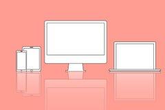 Dirigez l'icône d'illustration de l'ordinateur, ordinateur portable moderne, téléphone, table Photos stock