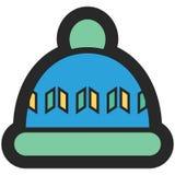Dirigez l'icône d'un chapeau pour les hommes ou des femmes dans le style plat avec le contour Pixel parfait affaires et regard de Images libres de droits