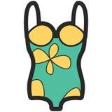 Dirigez l'icône d'un costume de natation pour des femmes dans le style plat avec le contour Pixel parfait affaires et regard de b Photo stock