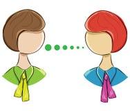 Dirigez l'icône de deux femmes communiquant sur un fond blanc Image stock