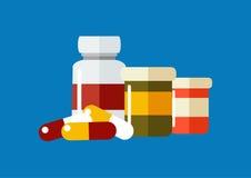 Dirigez l'icône de drogues, pilules, bouteilles de prescription d'american national standard de capsules Photo libre de droits