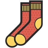 Dirigez l'icône des chaussettes rouges et jaunes pour les hommes ou des femmes dans le style plat avec le contour Pixel parfait a Image libre de droits