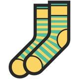 Dirigez l'icône des chaussettes vertes et jaunes avec des rayures pour les hommes ou des femmes dans le style plat avec le contou Images libres de droits