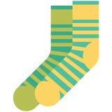 Dirigez l'icône des chaussettes vertes et jaunes avec des rayures pour les hommes ou des femmes dans le style plat sans contour P Images libres de droits
