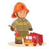Dirigez l'icône du petit sapeur-pompier d'enfant et de sa machine illustration de vecteur