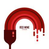 Dirigez l'icône du verre de vin avec le vin rouge d'isolement Photographie stock