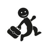 Dirigez l'icône plate courant l'homme heureux avec la serviette Conception plate pour des opérations bancaires financières de ven Photos stock