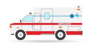 Dirigez l'icône plate d'automobile de secours de voiture d'illustration de véhicule d'ambulance Photo libre de droits