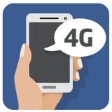 Dirigez l'icône plate d'illustration avec la main et le téléphone portable avec un smartphone 4g Photos libres de droits
