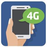 Dirigez l'icône plate d'illustration avec la main et le téléphone portable avec un smartphone 4g illustration libre de droits
