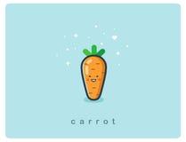 Dirigez l'icône plate de la carotte, personnage de dessin animé végétal mignon, repas de bébé Photo libre de droits