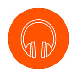 Dirigez l'icône ronde monochrome avec l'image des écouteurs sains, style plat Photographie stock libre de droits