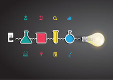 Dirigez l'idée créative d'ampoule avec la chimie et Images libres de droits