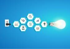 Dirigez l'idée créative d'ampoule avec le chemi d'hexagone Photo libre de droits