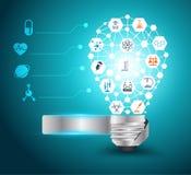 Dirigez l'idée d'ampoule avec la chimie et la science  Photographie stock