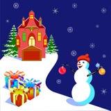 Dirigez l'illustratiob avec une maison et un bonhomme de neige, pour les bannières et la carte Photos libres de droits