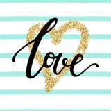Dirigez l'illustration à la mode avec le lettrage de ` d'amour de ` et l'effet d'or de scintillement illustration libre de droits