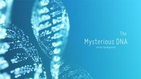 Dirigez l'illustration abstraite de double hélice d'ADN de bleu avec la profondeur du champ Source mystérieuse de fond de la vie illustration de vecteur