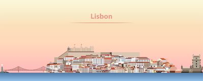 Dirigez l'illustration abstraite de l'horizon de ville de Lisbonne au lever de soleil illustration stock